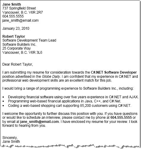 Cover Letter Example: Free Cover Letter Format