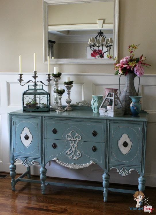 Atta Girl Says: Handpainted Duck Egg Blue Chalk Paint Buffet in Foyer
