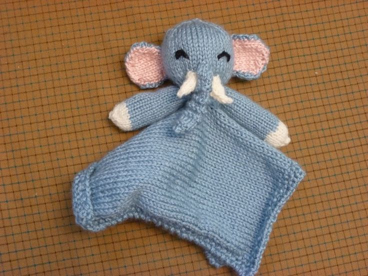 Free knitting pattern for Elephant Lovie and more security blanket buddy knitting patterns