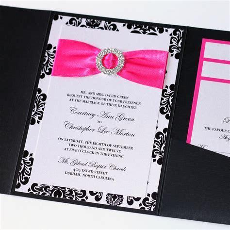 Damask Wedding Invitation   Black White and Hot Pink