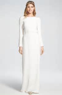 'Cheyne' Open Back Long Sleeve Silk Column Gown   Long