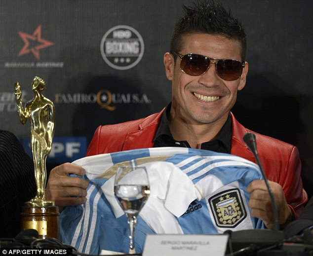 Pretty good year: Sergio Martinez with his trophy after beating Sebastian Chrismanich and Lionel Messi to the award