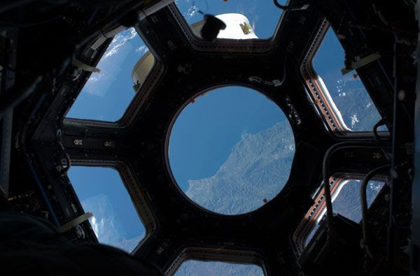 The coast of Algeria as viewed from inside the Cupola.