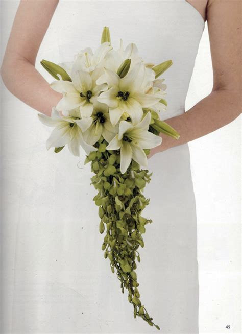 DIY Cascading Lily & Orchid Wedding Bouquet from Florist