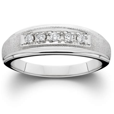 mens diamond wedding brushed ring  white gold ebay