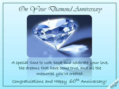Diamond Anniversary Wishes. Free Milestones eCards