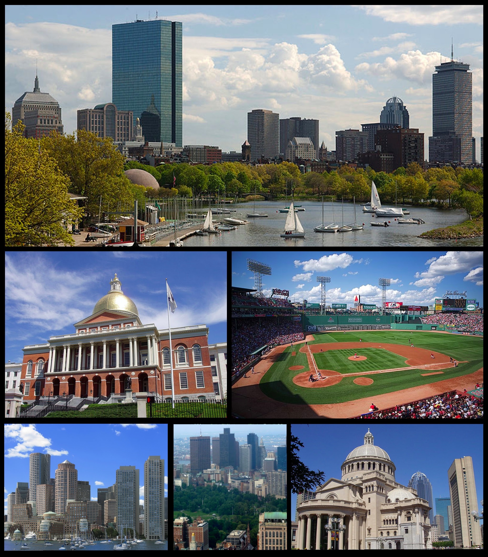 Clockwise: Skyline of Back Bay seen from the Charles River, Fenway Park, Christian Science Church, Boston Common and the Downtown Crossing skyline, skyline of the Financial District seen from the Boston Harbor, and Massachusetts State House