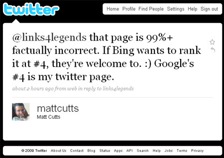 Matt Cutts Tweets about Bing