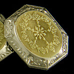Antique engraved 14kt white and yellow gold cufflinks. (J8737)