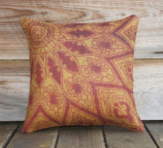 Sunburst Pillow Cover, Burlap, Decorative Throw Pillow, Flower Sun Red Orange Yellow, Accent Pillow, Persian, 16x16. $48.00, via Etsy.