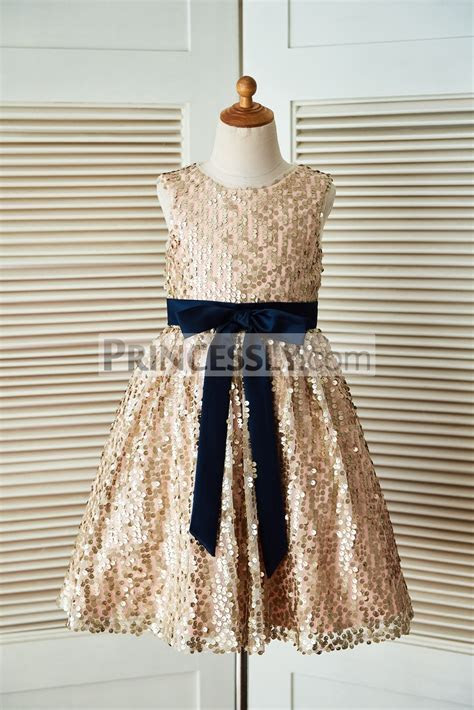 Champagne Gold Sequin Flower Girl Dress with Navy Blue