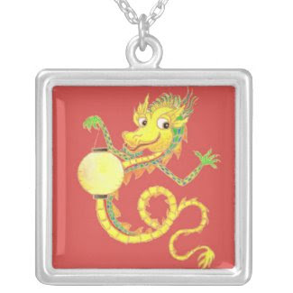 Golden Chinese Dragon Necklace necklace