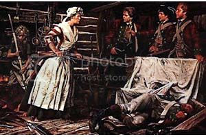 painting of Nancy Hart holding British soldiers at gunpoint until help arrived