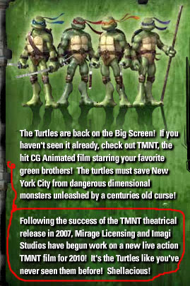 TMNT 2010 Live - Action movie ..note