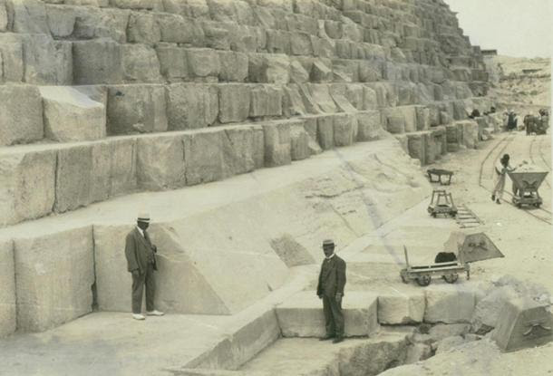 The Casing Stones can be seen here at the base of the pyramid