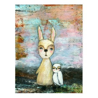 My Best Friend, Baby Rabbit, Baby Owl Abstract Art Post Card