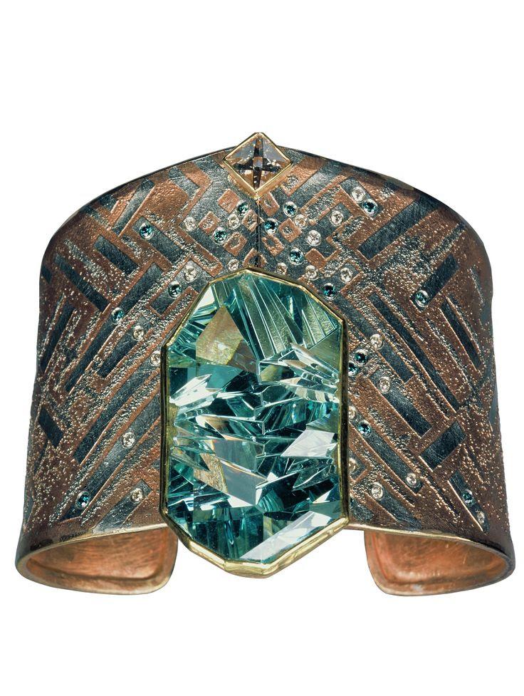 Atelier Zobel || 24 + 22 k gold, platinum  aquamarine (Munsteiner) 51,36 ct  diamond (Context cut) tw F vsi 1 0,82 ct  champagne coloured diamonds vsi 0,29 ct  blue diamonds 0,26 ct  ||  http://www.atelierzobel.com/schmuck/schmuck_list_mz.php?spr=en=2=10
