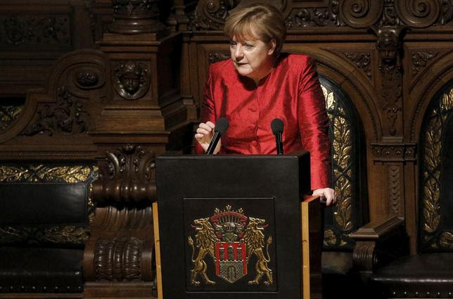 German Chancellor Angela Merkel holds a speech during the traditional historic banquet ''Matthiae-Mahlzeit'' (St. Matthew's Day Banquet) at the town hall in Hamburg February 12, 2016. REUTERS/Morris Mac Matzen