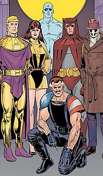 The cast of Watchmen, clockwise from top: Dr M...