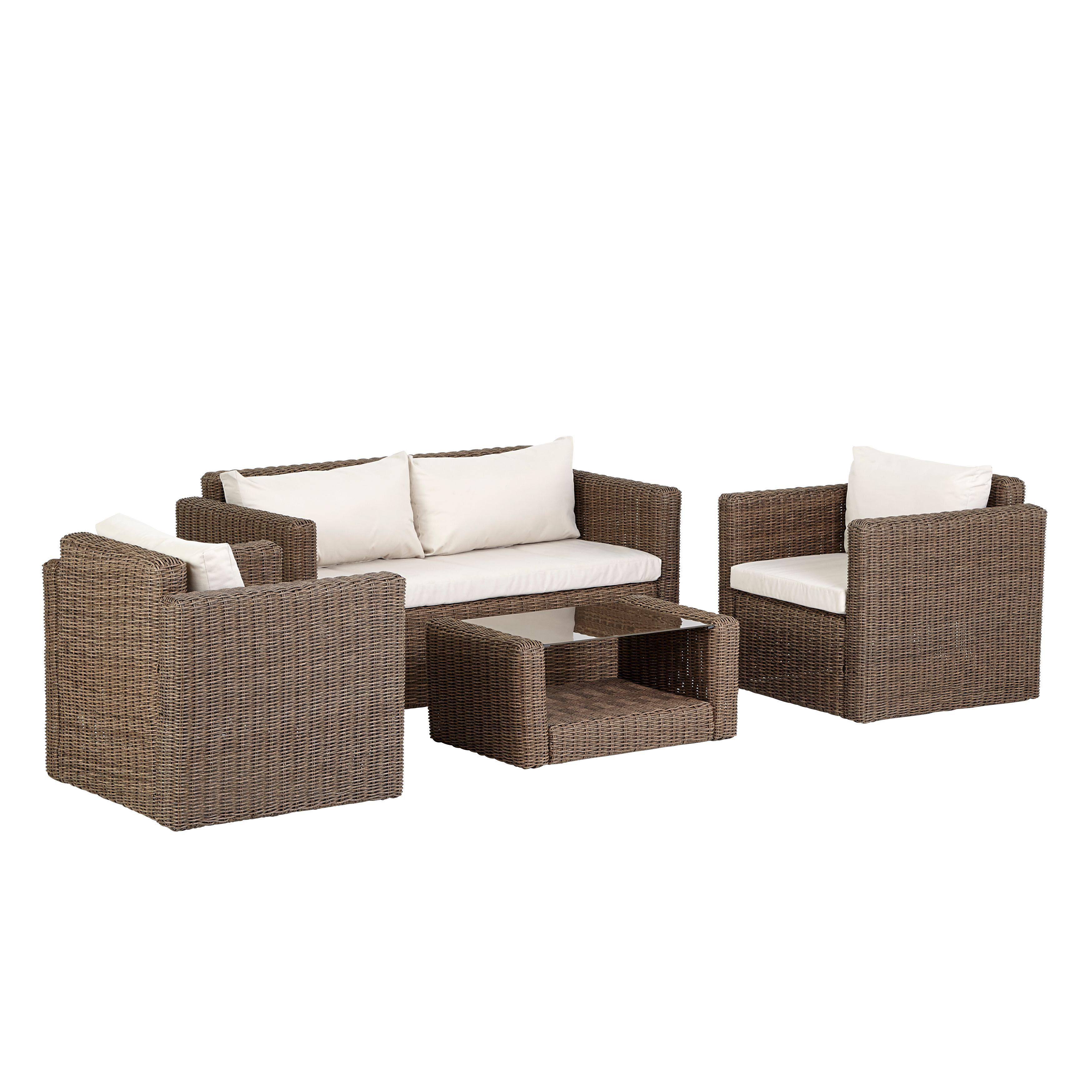 Soron Rattan Effect 4 Seater Coffee Set | Departments ...