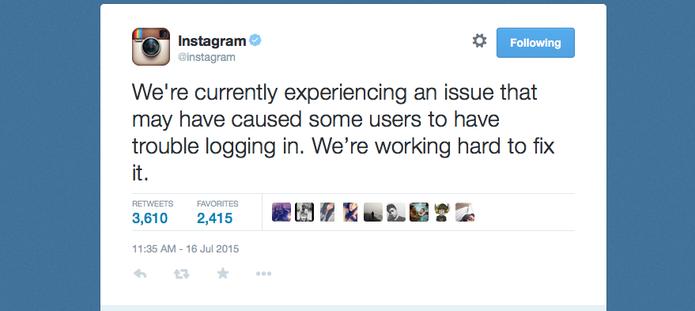 Instagram se desculpa no Twitter por problema que 'derrubou login' do aplicativo (Foto: Reprodução/Twitter)