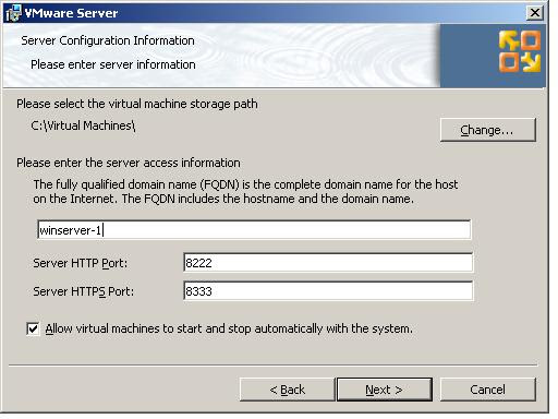Configuring VMware Server 2.0 server settings during a Windows installation