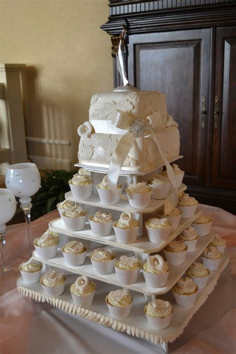 Ivory & Lace Square Wedding Cupcake Tower   CakeCentral.com