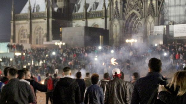 A picture made available on 6 January 2016 shows crowds of people outside Cologne Main Station in Cologne, Germany, on 31 December 2015