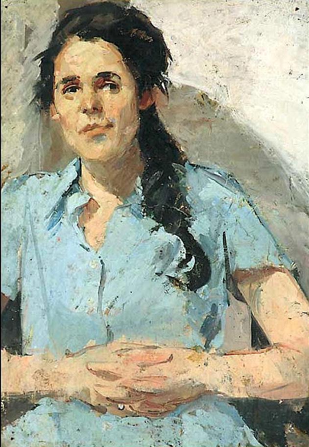 Portrait of a woman with long dark hair and blue shirt Robert Lenkiewicz