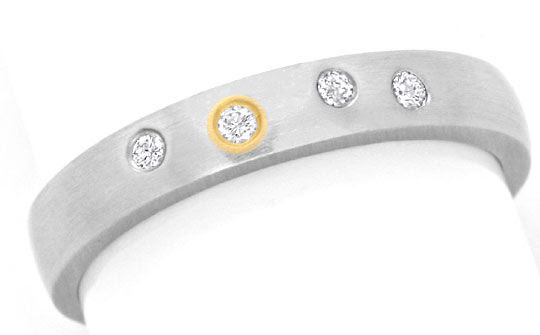 Originalfoto DIAMANT-PLATIN-RING MIT BRILLANTEN GOLD-EINLAGE