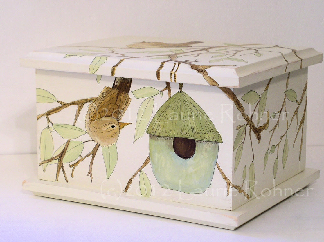 Hand Painted Keepsake Box Birdhouse and Birds