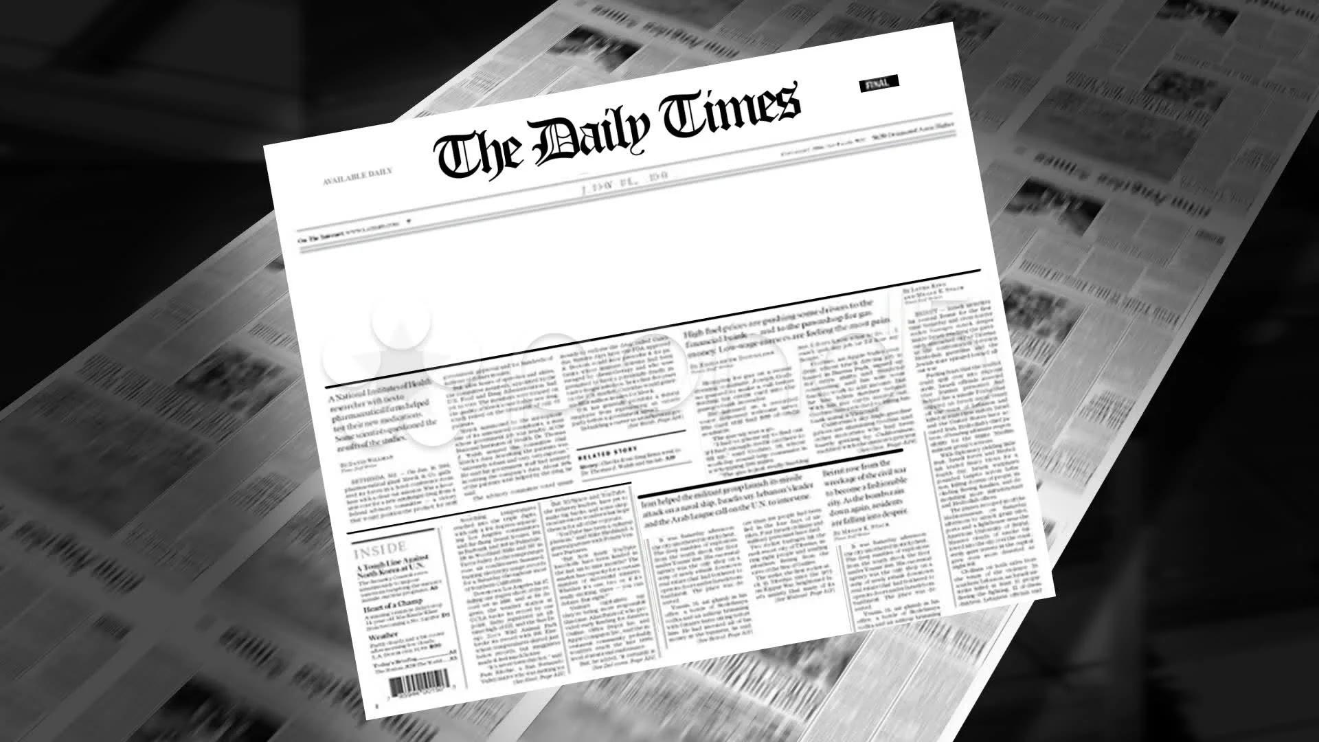 Blank - Newspaper Headline (Intro + Loops) ~ Video #9919990