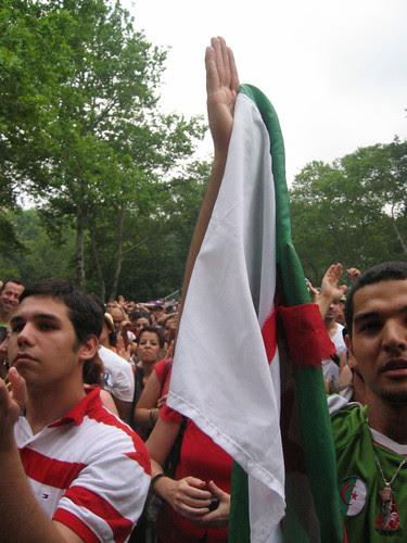 Taha fans, with Algerian flag