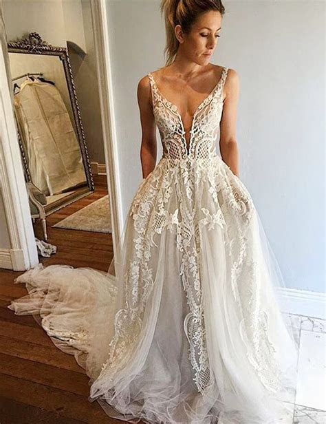 A Line Deep V Neck Court Train Ivory Tulle Wedding Dress