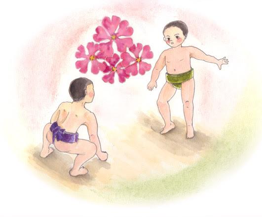 あさこん イラストカード作品集 相撲イラストその2わんぱく相撲