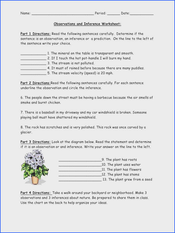 Inferences Worksheet 1 Mychaume Com