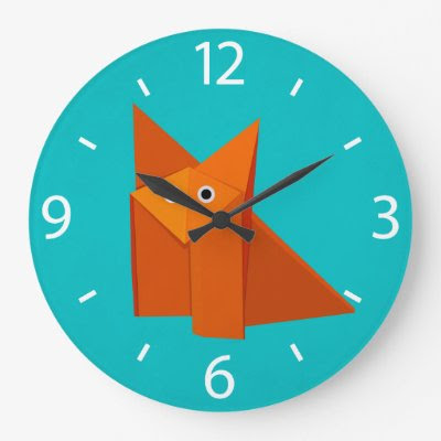 Colorful Cartoon Origami Fox Cute Wallclock