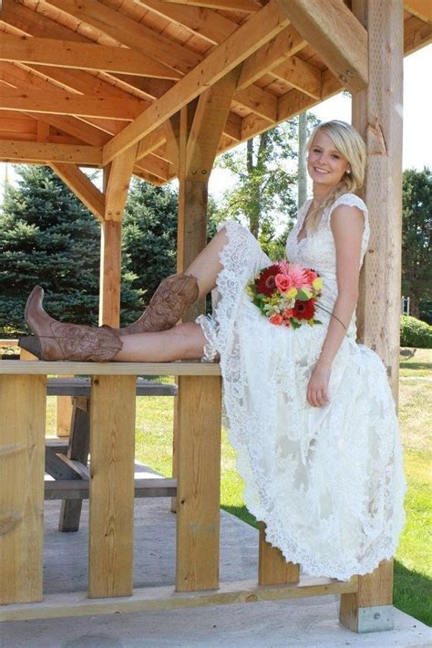 How to Wear Cowboy Boots with a Wedding Dress   We've only