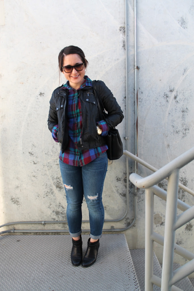 plaid shirt, leather jacket, and destroyed denim