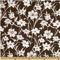 Stretch Cotton Poplin Floral Brown/White