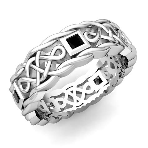 mens black diamond ring  platinum celtic wedding bandmy