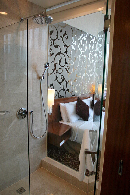 The Premier Room's bathroom has a glass wall