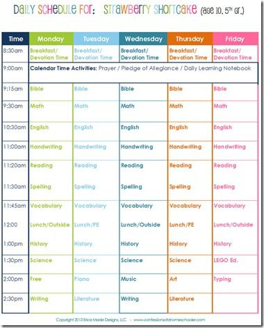 3rd Grade Daily Schedule   Daily Agenda Calendar