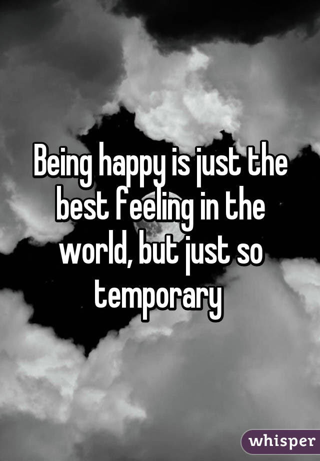 Being Happy Is Just The Best Feeling In The World But Just So Temporary
