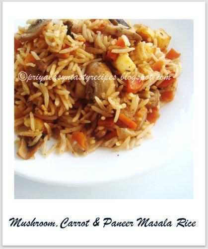 Mushroom,carrot & Paneer masala rice