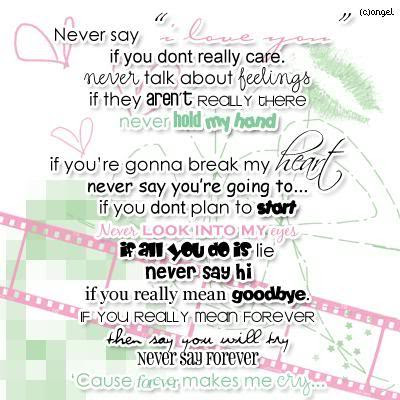 Never Say I Love You If You Dont Really Care Never Talk About