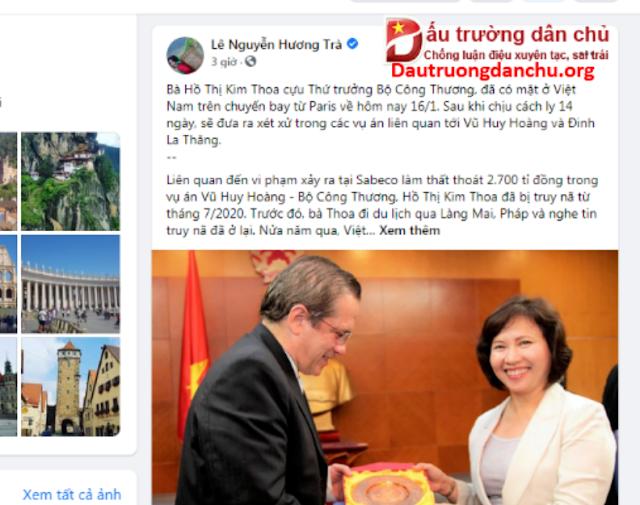 Đã di lý bà Hồ Thị Kim Thoa từ Pháp về đến Việt Nam?