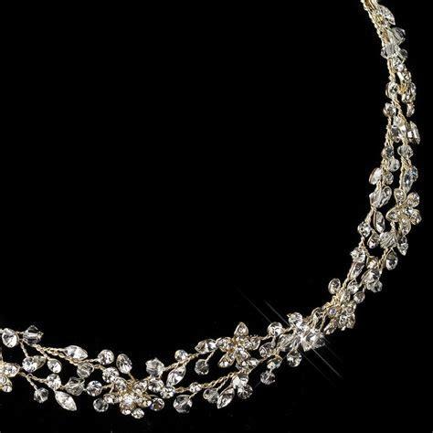 Light Gold Clear Rhinestone Vine Ribbon Headband 6438