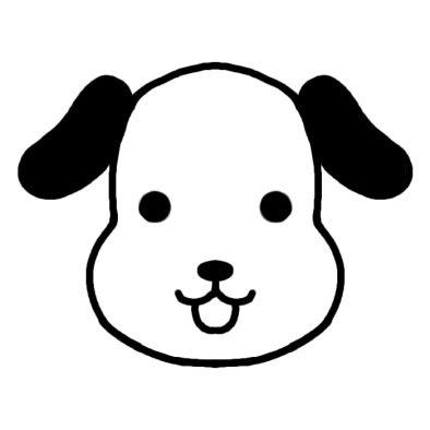 イヌ犬動物の顔動物無料白黒イラスト素材