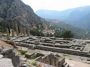 English: Delphi (Apollo Temple) Ελληνικά: Δελφ...